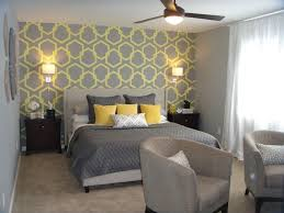 Grey And Yellow Wallpaper For Superb Bedroom Decorating Ideas With
