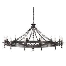 elstead lighting warwick 12 light wheel chandelier in graphite black finish this wro