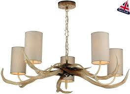 david hunt antler 5 light rustic cream chandelier drum shades