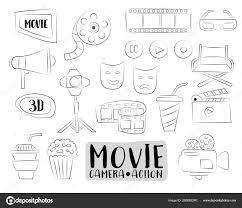 Film Bioscoop Pictogrammen Instellen Kleurrijke Hand Getrokken