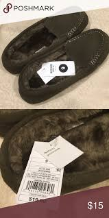 Nwt Target Mossimo Moccasin Slippers Sz 9 Olive Green
