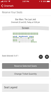 Cinemark Seating Chart Cinemark Theater Premiere Reserved Seating Maps The Last Jedi