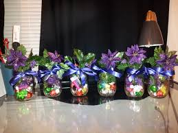 Decorating Mason Jars With Ribbon Purple Flowers Closed Green Leaf And Chrismast Ornamen Inside 34