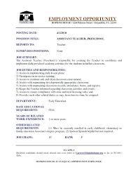 Resume For Preschool Teacher Preschool Teacher Assistant Job