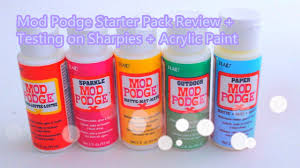 mod podge starter pack review testing on sharpies and acrylic paint you