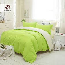 parkshin bright green and white solid color bedding set plain double duvet cover set soft polyester flat sheet bedclothes comforters and bedspreads beddings