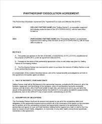 8+ Partnership Dissolution Agreement Templates | Sample Templates