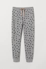 H&M+ Пижамные <b>брюки</b> с рисунком - Серый меланж/<b>Сердечки</b> ...