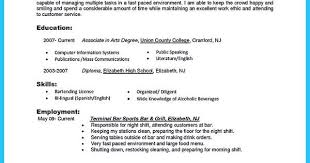 Outstanding Details You Must Put In Your Awesome Bartending Resume Adorable Bartending Resume Skills