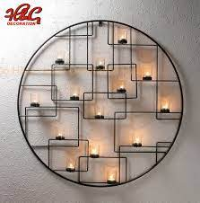 round metal candle holder wall hanging