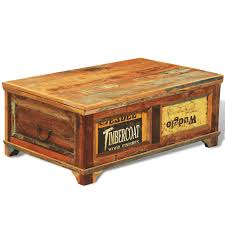 reclaimed wood storage box coffee table vintage antique style
