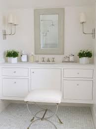 white floating bath vanity with gray mirror