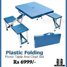 plastic folding picnic table and chair set daily deals
