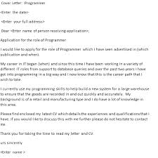 Programmer Cover Letter Cover Letters And Cv Examples