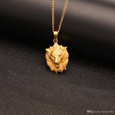 whole hip hop lion pendant necklace fine stainless steel gold color lion head face charming for jewelry personalized pendant necklace coin pendant