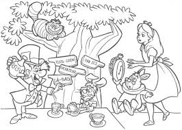 Small Picture Mad Hatter Having Tea Party Coloring Page Mad Hatter Having Tea