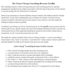 Beautiful Victor Cheng Consulting Resume Toolkit Pictures - Simple .