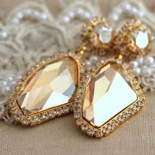 chandelier topaz champagne gold bridal swarovski rhinestone drop earrings wedding jewelry drop earrings