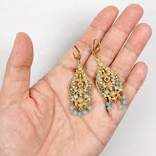 catherine popesco ornate filigree chandelier crystal drop earrings in pacific opal image