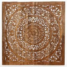 teak lotus panel wall art