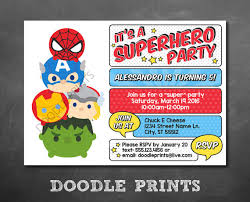 superheroes birthday party invitations tsum tsum avengers superhero birthday party invitation super
