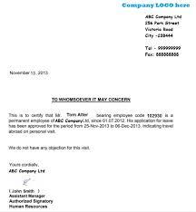 visa letter schengen visa leave letter sample employee leave noc letter format