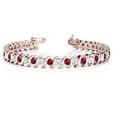 14k gold ruby and diamond tennis bracelet