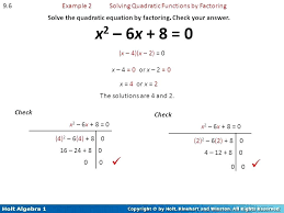 solving quadratic equation by factoring example math example 2 solving quadratic functions by factoring solve the