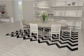 black and white chevron patchwork cowhide rug in dining room
