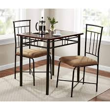 get ations walnut 3 piece dining table set bistro metal chairs breakfast small kitchen furniture