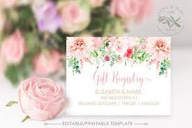 Gift Registry Template Printable Pink Floral Gift Registry Card