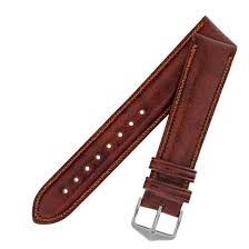 hirsch ascot english leather watch strap with buckle in gold brown 18mm gold buckle co uk watches
