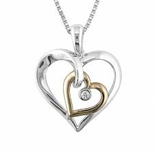 diamond accent double heart pendant in sterling silver and 10k gold