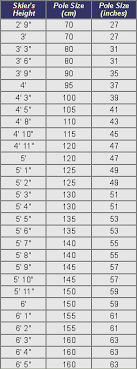 Nordic Ski Size Chart Cross Country Ski Pole Chart In 2019 Cross Country Skiing