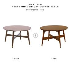 west elm reeve mid century coffee table 399 vs allen round coffee table 150