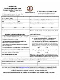 certificate of workers compensation insurance sample workers pensation forms texas ct form washington hd