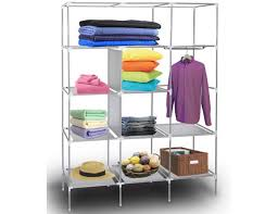 portable storage organizer wardrobe closet 13 customizable shelves with sy rust proof stainless steel frame 9 side pockets assemble easy