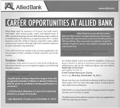 Teller Job Allied Bank Job 2014 Allied Bank Career Path For