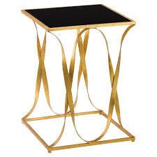 gold iron ribbon black glass top side table kathy kuo home view full size