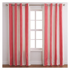 chambray pair of lined red and white stripe curtains 170 x 170cm