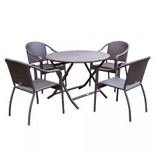 5pcs cafe curved back chairs and folding wicker table dining set