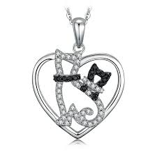 details about jewelrypalace spinel cubic zirconia mother baby pet cats heart pendant 925silver