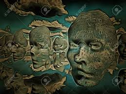surreal painting masks hovers in the sky words stock photo 82197276