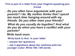 This is part of a letter from your English speaking pen friend