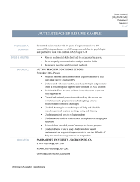 Autism Resume Examples Endearing Resumes For Experienced Teachers With Additional Autism 2