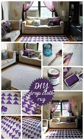 diy drop cloth rug with olive leaf stencil and paint tutorial