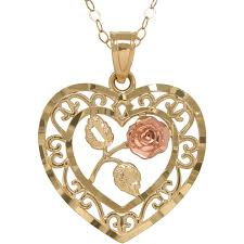 simply gold 10kt gold filigree heart with center flower pendant necklace com