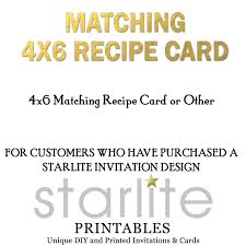 matching 4x6 recipe card design only for starlite invitation designs