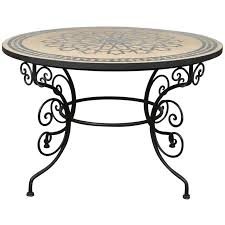 moroccan outdoor round mosaic tile dining table on iron base 47 in for