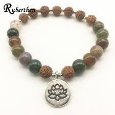 New Bead Designs Us 2 46 Ruberthen New Design Rudraksha Bracelet Fancy Beads Lotus Bracelet Women S Balance Healing Energy Jewelry Best Gift For Her In Strand